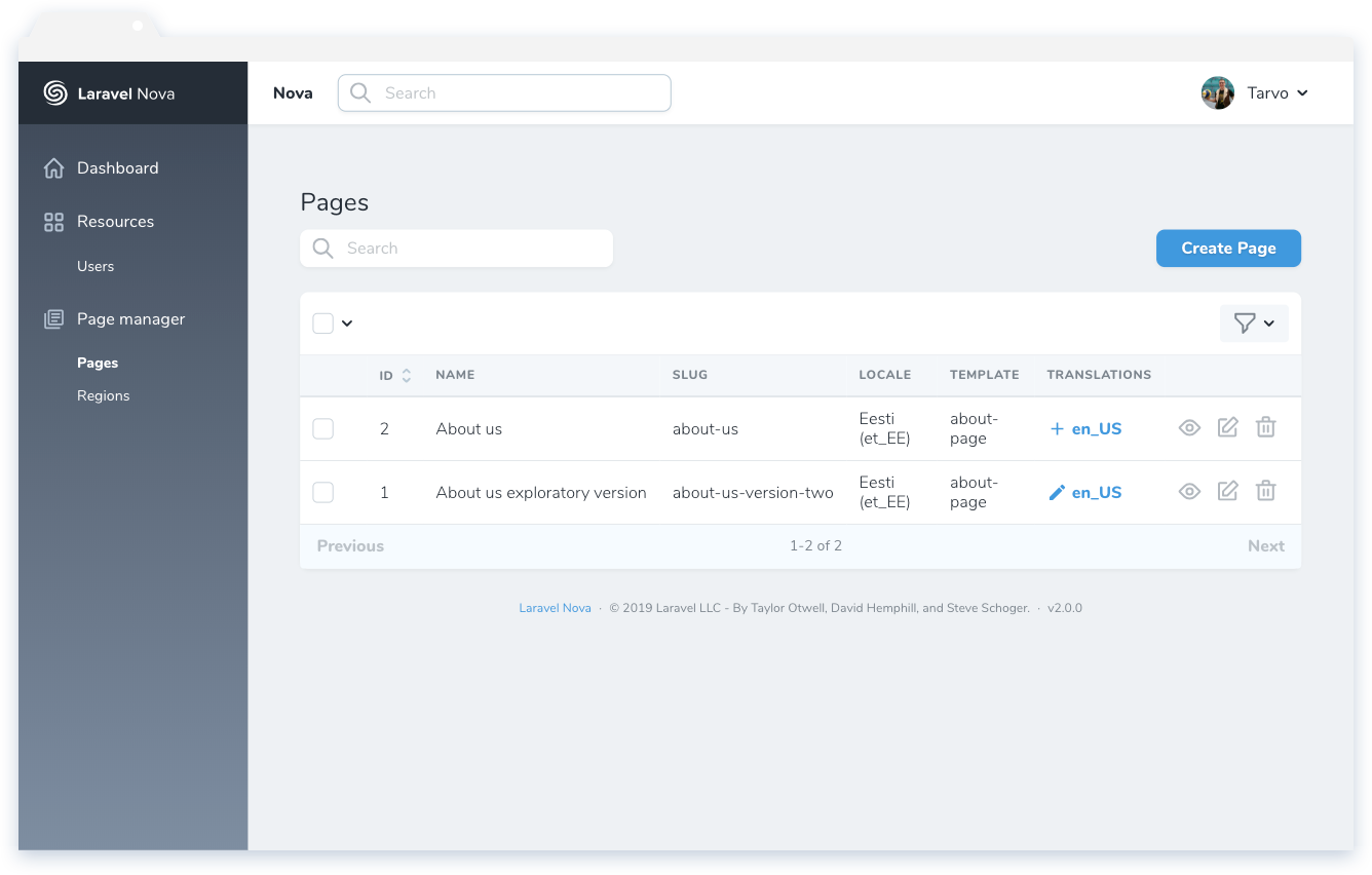 Nova Page Manager - Nova Packages